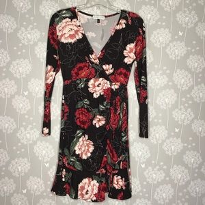 Planet Gold Dress Size Large Black Floral